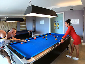 Amateur couple playing pool and having passionate sex afterwards